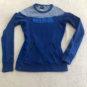 Women's NIKE blue sweatshirt Dri-Fit pockets